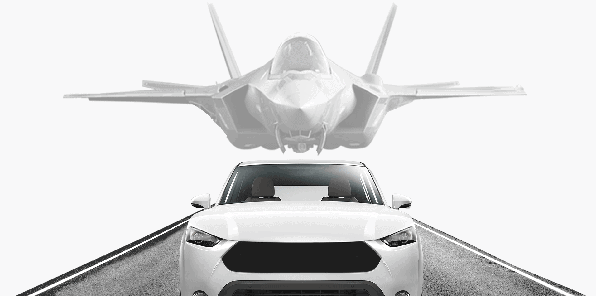 A car with a jet plane above it showing that GuardKnox automotive cybersecurity stems from jet plane security in the Israeli IAF Israeli Air Force